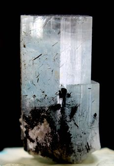 Terminated Aquamarine Crystal with Black Toutmaline - 36 x 18 x 16 mm - 25.5gm