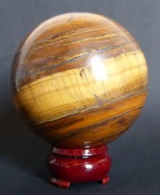 Golden red Tiger's Eye, with stand - 8,3 cm - 834gm