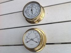 Ship's barometer in copper casing, Marine-Barometer - 20th century - ship thermometer and Hygrometer Observer Made in Germany