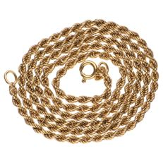 Yellow gold twisted link necklace in 18 kt - Length: 50 cm