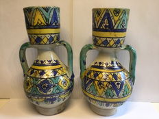 Set of two antique Fez Moroccan jugs  with interior grids, Morocco, pre-1900
