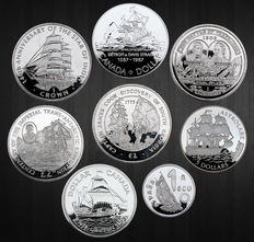 World - Lot assorted coins 'Sailing Ships' 1979/2015 (8 different) including 4 x silver