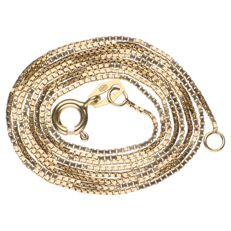 Yellow gold Venetian link necklace, 14 kt – 60 cm