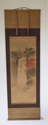 Scroll painting on silk of a waterfall with trees in autumn tints - Japan - 19th Century