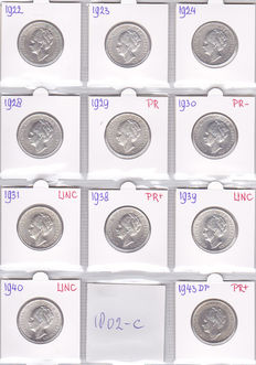 The Netherlands – 1 guilder 1922/1943D, Wilhelmina (11 different coins) – silver.