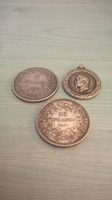 France - Lot of 3 coins and medallion (1830/1967) - Silver
