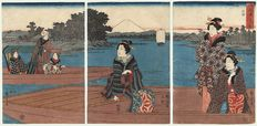 """Original tryptich woodcut by Utagawa Hiroshige (1797-1858), title """"View of the Ferry at Rokugo"""" – Japan – 1845-1852"""