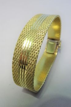 Amoblea * D – Wide yellow gold plated bracelet – 1970s