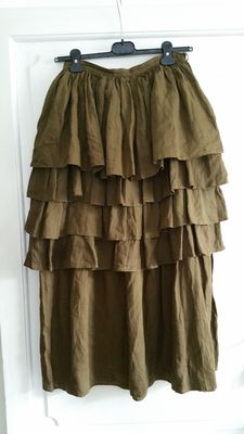 Prada – 1990 collection, wide and long frilled skirt, brown linen