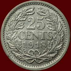 The Netherlands – 25 cents 1918 Wilhelmina – silver