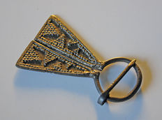 Early medieval silver plated bronze Omega Viking fibula, - 62 x 36 mm