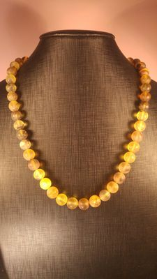 Baltic amber necklace,  brushed polished beads, 47 gr