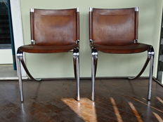 Unknown designer – Two leather and steel armchairs
