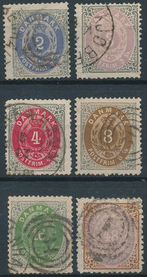 Denmark 1870 – Number in oval – Facit 20/24 + 27