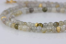 Chain made of natural labradorite beads with 585 yellow gold elements