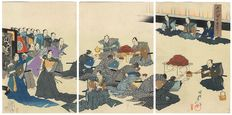 "Large original triptych woodcut by Toyohara Chikanobu (1838 – 1912), from the series ""Outer Chiyoda Palace"" – Japan – around 1897"