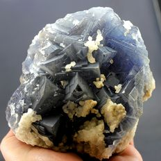 Cubic Shape Fluorite Crystals with Calcite  -  110 x 95 x 80 mm - 1064gm
