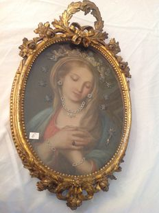 Jewelled Madonna - with oval-shaped inlaid gilt frame - Italy - mid 19th century