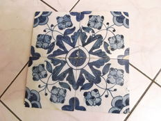 Set of Four (4) Floral Themed Tiles from the 17th Century, Portugal