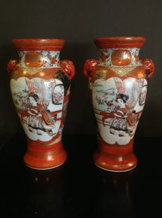 Two very detailed painted Kutani porcelain vases, marked - Japan - early 20th century