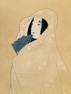 """Bijin"" (美人) Elegant, delightful scroll painting on cloth, signed - Japan - first half 20th century"
