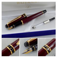 Waterman Expert Mark 1 Fountain Pen - Burgundy Lacquer GT - Fine Nib | New Old Stock