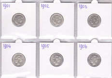 The Netherlands – 25 cents 1901/1906  (6 different) – silver.
