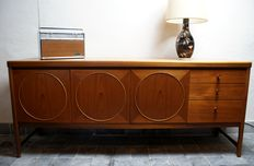 Patrick Lee for Nathan furniture – modernistic teak sideboard with geometrical pattern