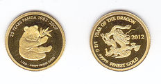 "Laos – 500 kip (2 coins) 2007 and 2012 ""25 years Panda"" and ""Year of the Dragon"" – Gold."