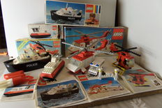 Legoland / Classic Town - 314 + 386 + 663 + 6685 - Police Ship + Helicopter and Ambulance + Hovercraft + Fire Copter 1