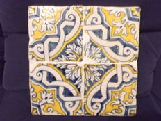 Set of Four (4) Tiles in Polychrome on Acrylic from the 17th Century, Portugal