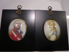 Two Miniature Portraits Man in uniform and a blond Lady - England - ca. 1870