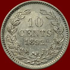 The Netherlands – 10 cents 1892 Wilhelmina – Silver