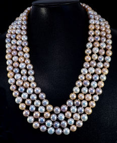 A 4-row pearl necklace, multi-colour, with 214 cultivated pearls of 7.5 to 8.5 mm diameters