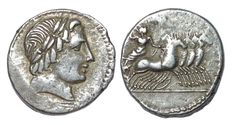 Roman Republic - Vergilius, Gargilius and Ogulnius - AR Denarius (19 mm; 4,00 g), c. 86 BC - Rome mint - Apollo / Jupiter in quadriga - Cr. 350A/2