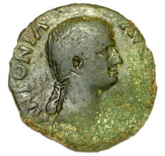 Roman Empire - As Antonia under Claudius - togate Claudius - struck 50-54 AD - AE27 - 9,44 gr