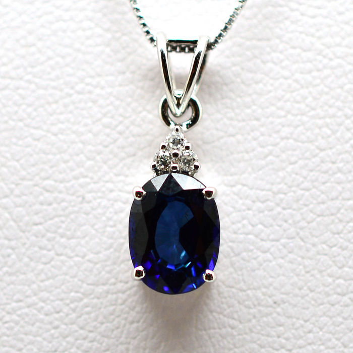 Gold Necklace and Pendant with Sapphire and Brilliant Cut Diamonds weighing 1.99 ct *no reserve*