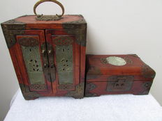 Two carved wooden jewellery boxes - China - second half 20th century