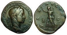 Roman Imperial - Alexander Severus (222-235 AD) - AE Sestertius, struck c. 231-235 AD - Rome mint - Bust / Pax - RIC 592