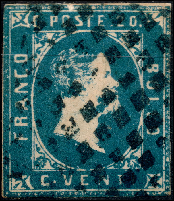 Sardinia 1851 1854 Blue 20 Cent Stamp From The 1st 2nd