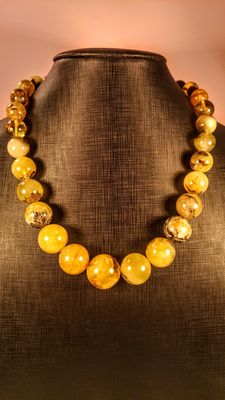 Genuine Baltic amber yellow colour marbled, necklace,  82 gr