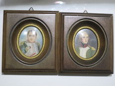 Two old small paintings miniatures of men Napoleon and Marechal Lanne signed in wooden frames