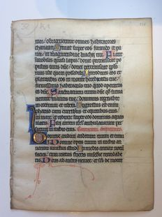Manuscript; Illuminated hand-written leaf from a medieval book of hours - Metz / France - c. 1300