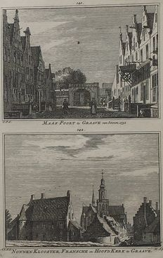 Grave; H. Spilman - 5 copper engravings with 9 views - ca. 1750