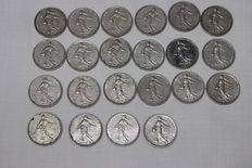 France - 5 Francs 'Semeuse' 1960/1964 (lot of 22 coins) - Silver