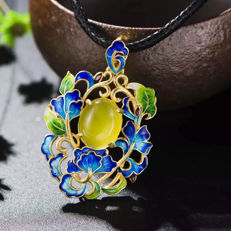 925 silver Cloisonne yellow Agate Pendant