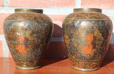 Lot with 2 copper polychromed vases - Persia - 19 th century.