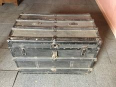 Black painted wood and metal traveling trunk, first half 20th century