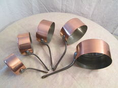 "Lot of 5 pans in red tinned copper, origin: France French manufacturing quality ""Professional"".. .new , never served..."