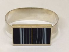 Silver design bracelet with striped agate - Theodor Klotz - Pforzheim